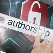 Text 'authorship' on top of a padlock symbol
