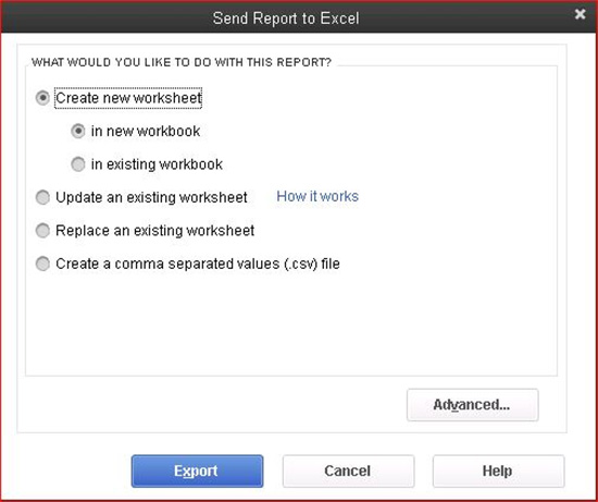 QuickBooks - Send Report to Excel