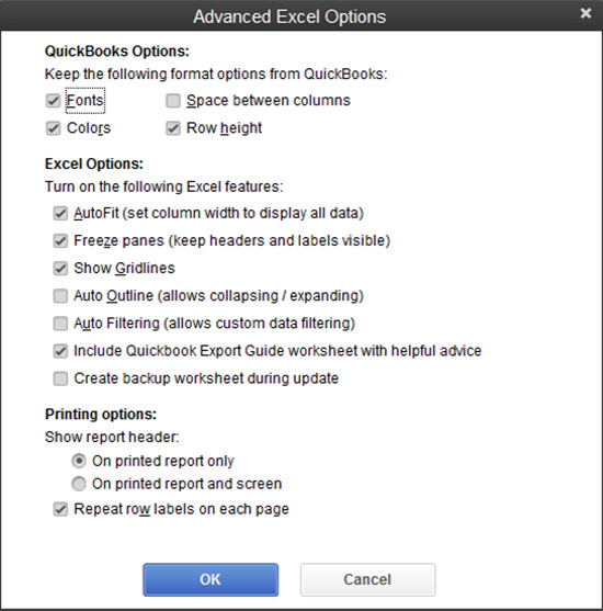 QuickBooks - Advanced Excel Options