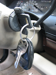 Car keys in the ignition.