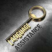 Key with text - 'language assistance'