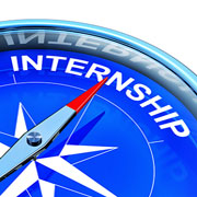 Compass needle pointing at the word 'internship'