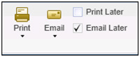 QuickBooks - Print/Email Later options