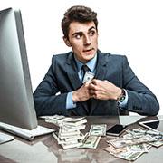 Businessman stealing stealing money
