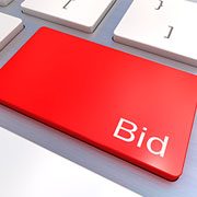 "Red ""Bid"" keyboard button"