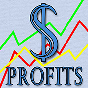 Dollar sign, upward trending lines, 'profits'