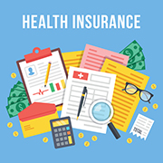 Health Insurance infographic with insurance forms, calculator, clipboards, etc.