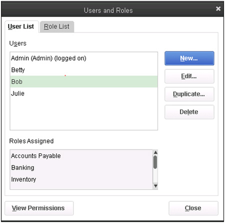 QuickBooks - Users and Roles