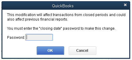 QuickBooks - Closing Periods