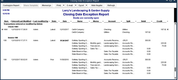 QuickBooks - Closing Date Exception Report