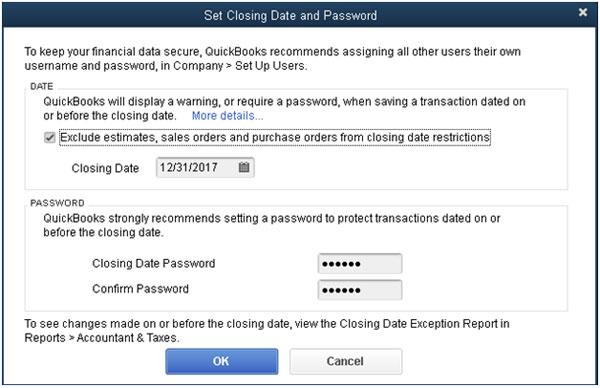 QuickBooks - Set Closing Date and Password