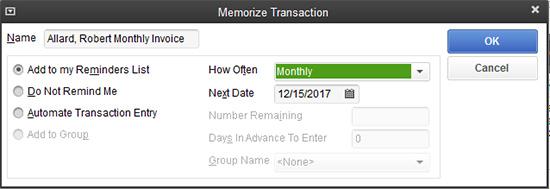 QuickBooks - Memorize Transaction