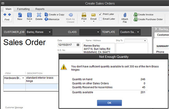 QuickBooks - Create Sales Orders