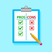 "Clipboard with a ""pros and cons"" table"