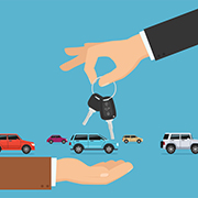 Clipart of hands exchanging keys with cars in the background