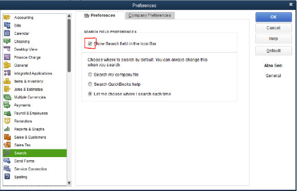 QuickBooks Preferences