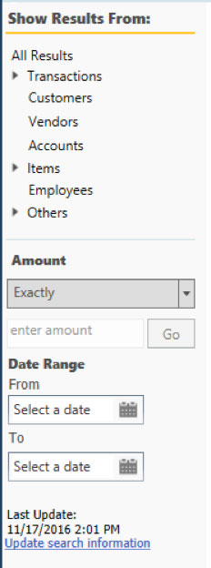 QuickBooks - Show Results options
