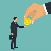 Illustration of businessman and a giant hand exchanging a coin