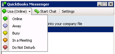 QuickBooks Messenger - User status options