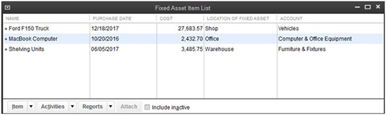 QuickBooks - Fixed Asset Item List