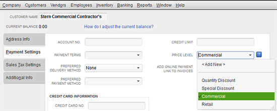 QuickBooks - Payment Settings
