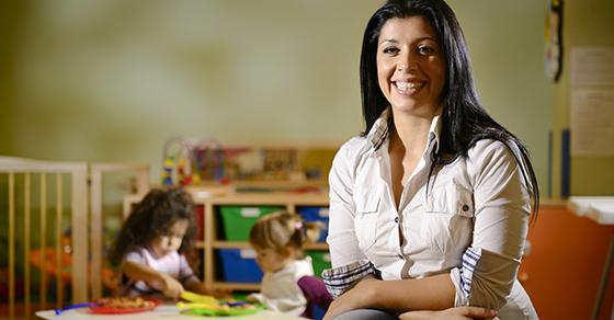 Preschool teacher in the classroom