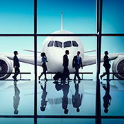 Airplane and airport terminal