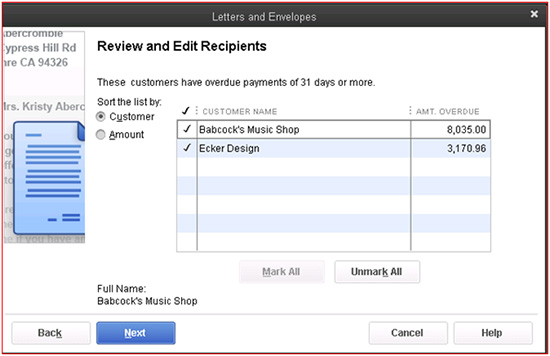 QuickBooks - Review and Edit Recipients