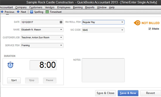 QuickBooks - Single Activity entry