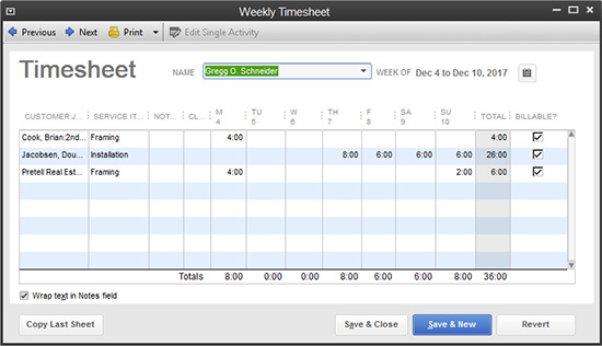 QuickBooks - Weekly Timesheet