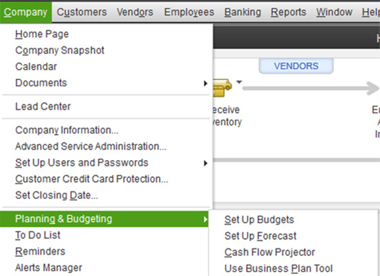 QuickBooks: Company - Planning & Budgeting