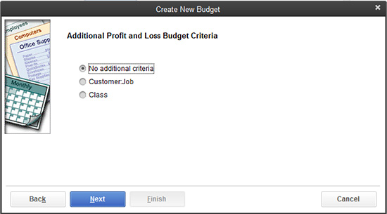 QuickBooks: Additional Profit and Loss Budget Criteria
