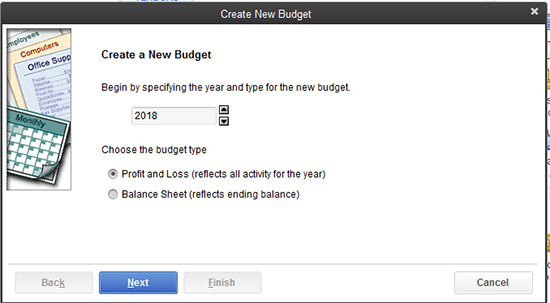 QuickBooks: Create New Budget