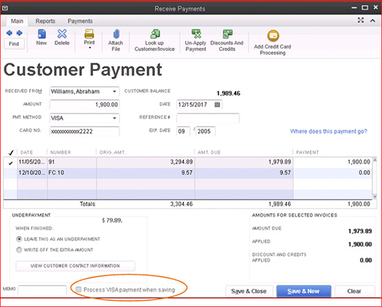 QuickBooks - Customer Payment