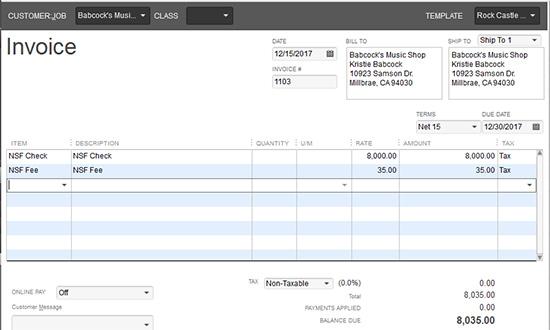 QuickBooks - Invoice NSF