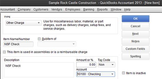 QuickBooks - NSF Check