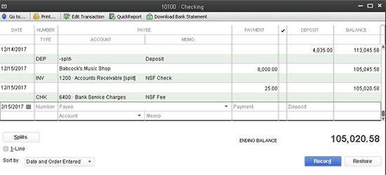 QuickBooks - NSF Invoice
