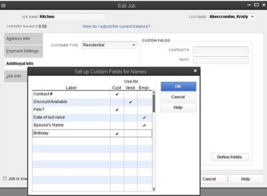 QuickBooks - Edit Job, Custom Fields