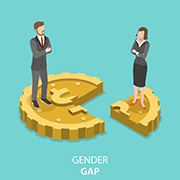 Illustration of a businessman standing on 3/4 of a coin and a businesswoman standing on 1/4 of a coin