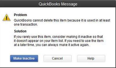 QuickBooks Message menu box