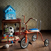 Toys, dollhouse, and a tricycle