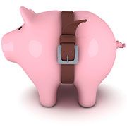 Piggy Bank wearing a tight belt