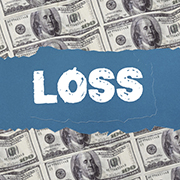 Hundred dollar bills and the word 'LOSS' written over them