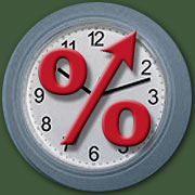 Clock face with percentage sign