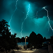 Storm with several lightning bolts