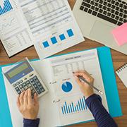 Person examining financial data