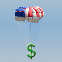 Parachute holding up a dollar sign