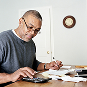 Man working on his taxes