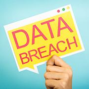 Speech bubble: Data Breach