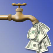 Faucet with money coming out